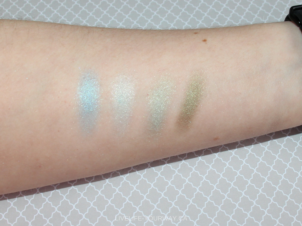 Arm swatches (with flash) of ArtDeco's eyeshadows in Fresh Water (267) Aero Spring Green (255) Green Atlantis (246) Pearly Medium Pine Green (40)
