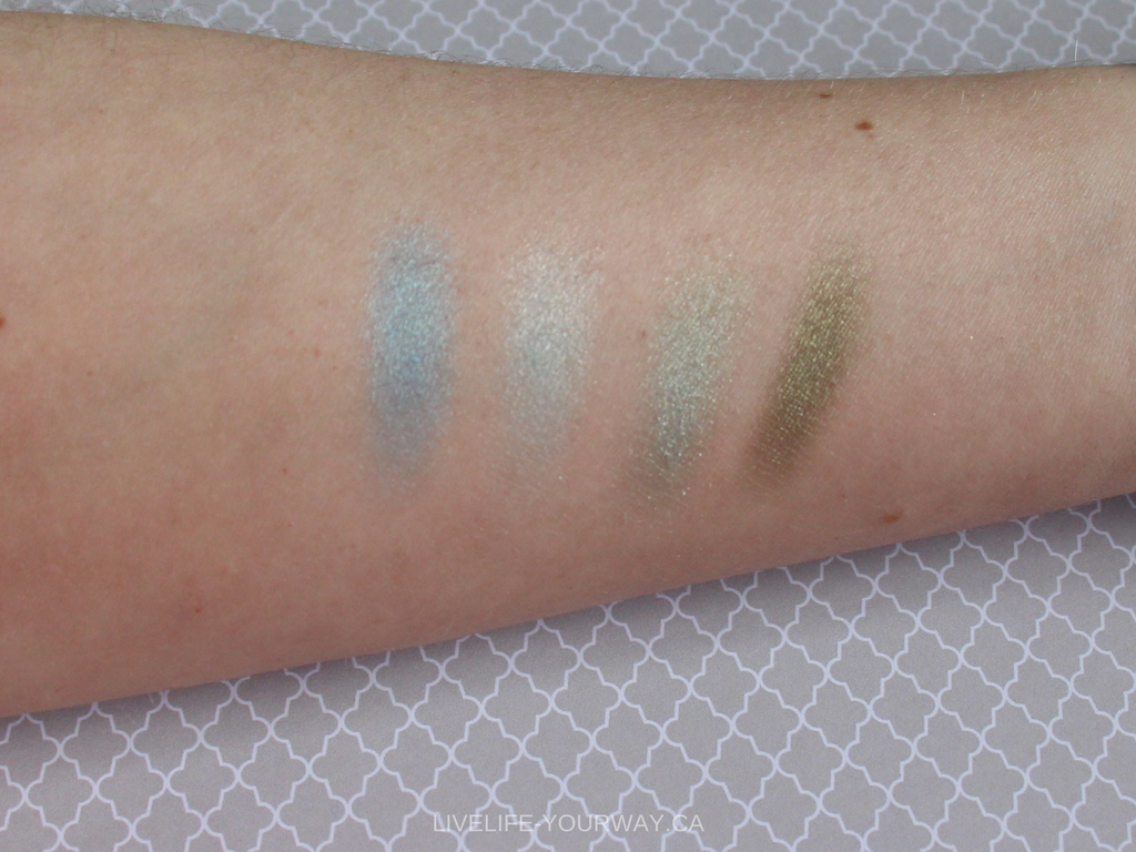 Arm swatches (natural light) of ArtDeco's eyeshadows in Fresh Water (267) Aero Spring Green (255) Green Atlantis (246) Pearly Medium Pine Green (40)