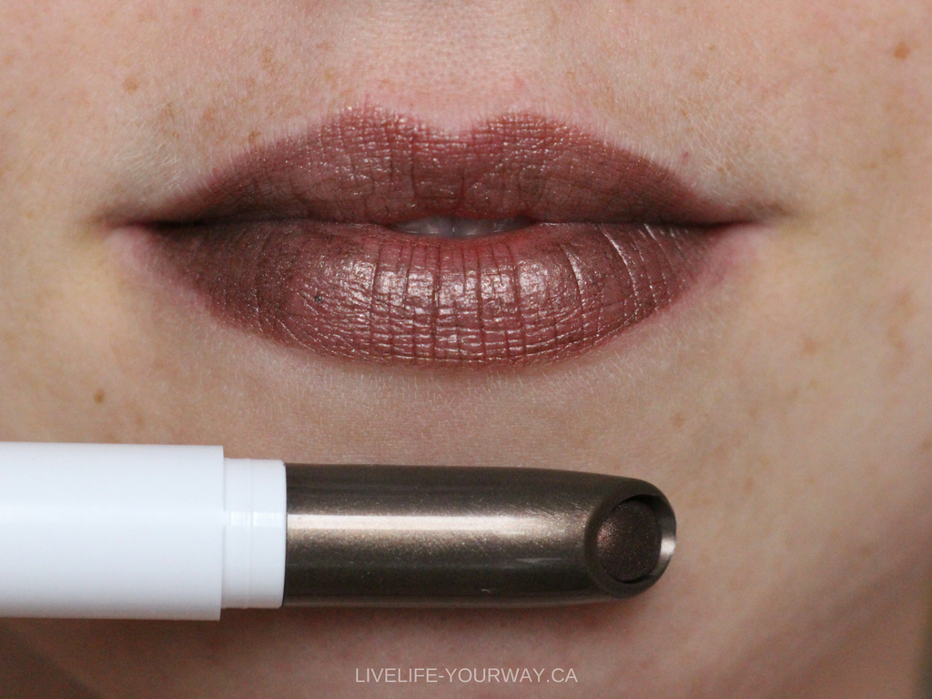 Lip swatch of ColourPop's Lippie Stix in Wet (pearlized)