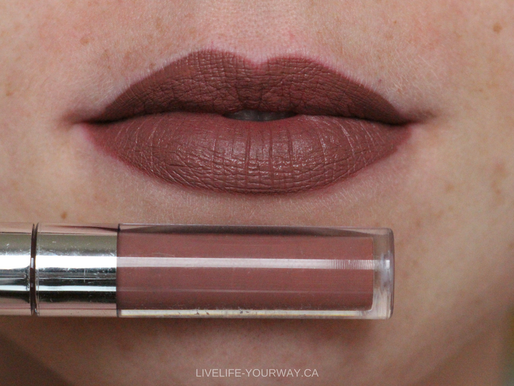 Lip swatch of ColourPop's Ultra Matte Mini in Beeper