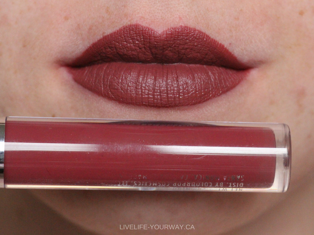 Lip swatch of ColourPop's Ultra Satin in Baracuda