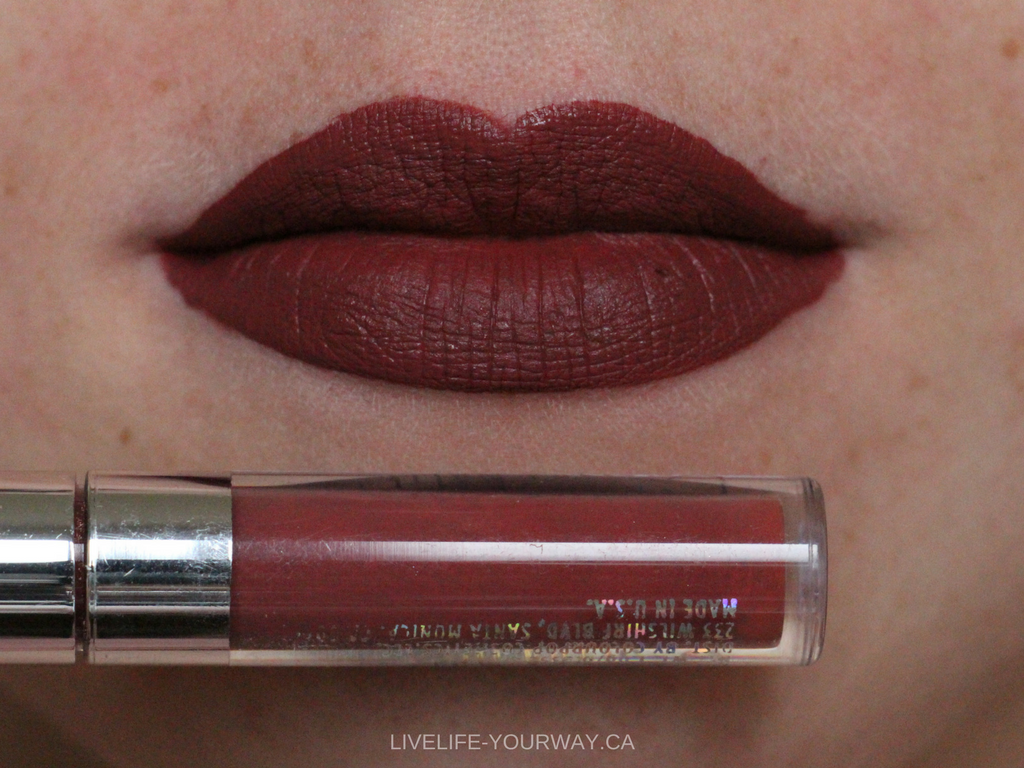 Lip swatch of ColourPop's Ultra Matte Mini in Tulle