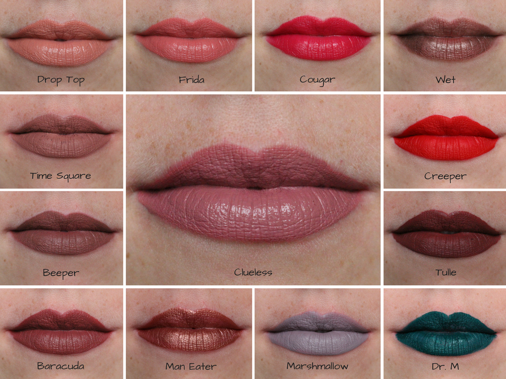Lip swatches of ColourPop lippie stix, ultra mattes, ultra satins & ultra metallics