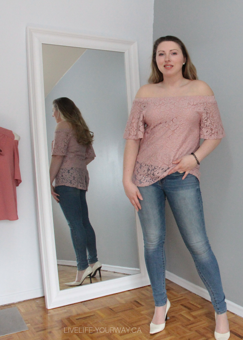 Valentine's Day Outfit Say What? blush off the shoulder top, American Eagle jeans, BCBGirls cream heels