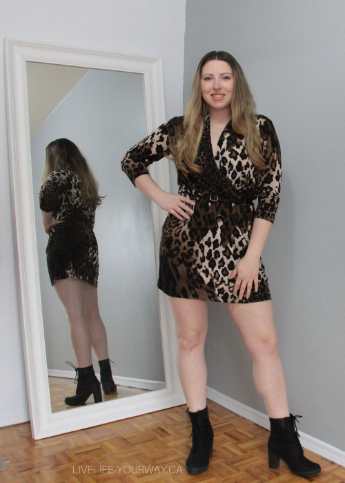 Valentine's Day Outfit Chico Leopard dress, Old Navy black belt and Timberland Glancy boots