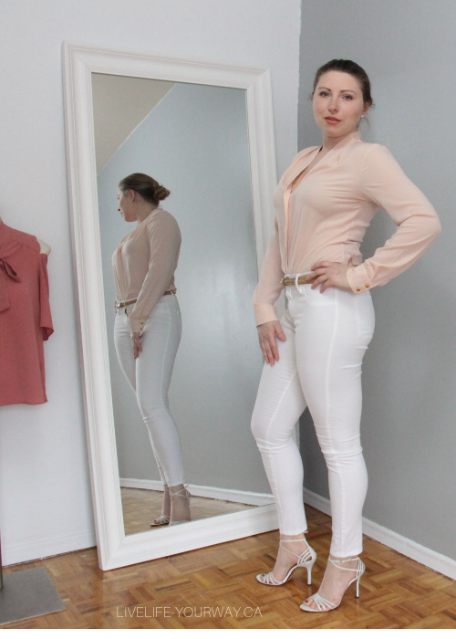 Valentine's Day Outfit Calvin Klein v-neck blouse, Charlotte Russe white jeans, Town Shoes sandals