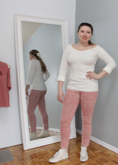 Valentine's Day Outfit Dynamite cream long sleeve ribbed shirt, Forever21 pink leopard jeans & Old Navy beige high tops