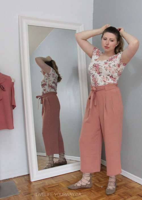 Valentine's Day Outfit Garage floral tee, Zara paperbag waist blush pants, Lily Morgan tie up flats